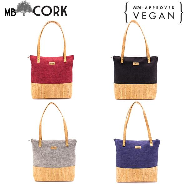 Cork bags Natural cork  Original handmade bag with Gray, burgundy, black, dark blue fabric BAG-372-BCDE