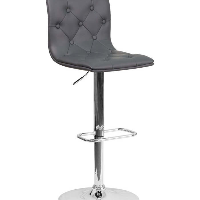 Flash Furniture Contemporary Tufted Gray Vinyl Adjustable Height Barstool with Chrome Base игрушка ecx ruckus gray blue ecx00013t1