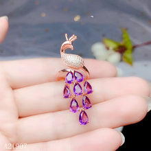 KJJEAXCMY boutique jewelry 925 sterling silver inlaid amethyst female ring new peacock(China)