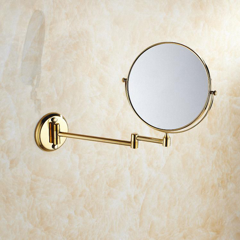 Bathroom Magnifying Makeup Mirror, Double-Sided 1X/3X, Extendable Folding Arm, Wall Mounted Vanity Round Mirrors, Solid Brass free shipping 9wall mounted round 3x 1x magnifying bathroom mirror led makeup cosmetic mirror lady s private mirror bm003