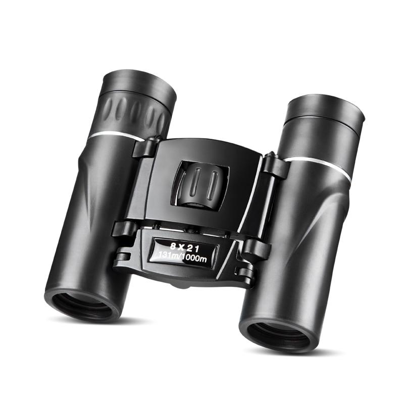 8x21 Compact Zoom Binoculars Long Range Folding HD Powerful Mini Telescope Bak4 FMC Optics Hunting Sports Black Kids Telescope 3
