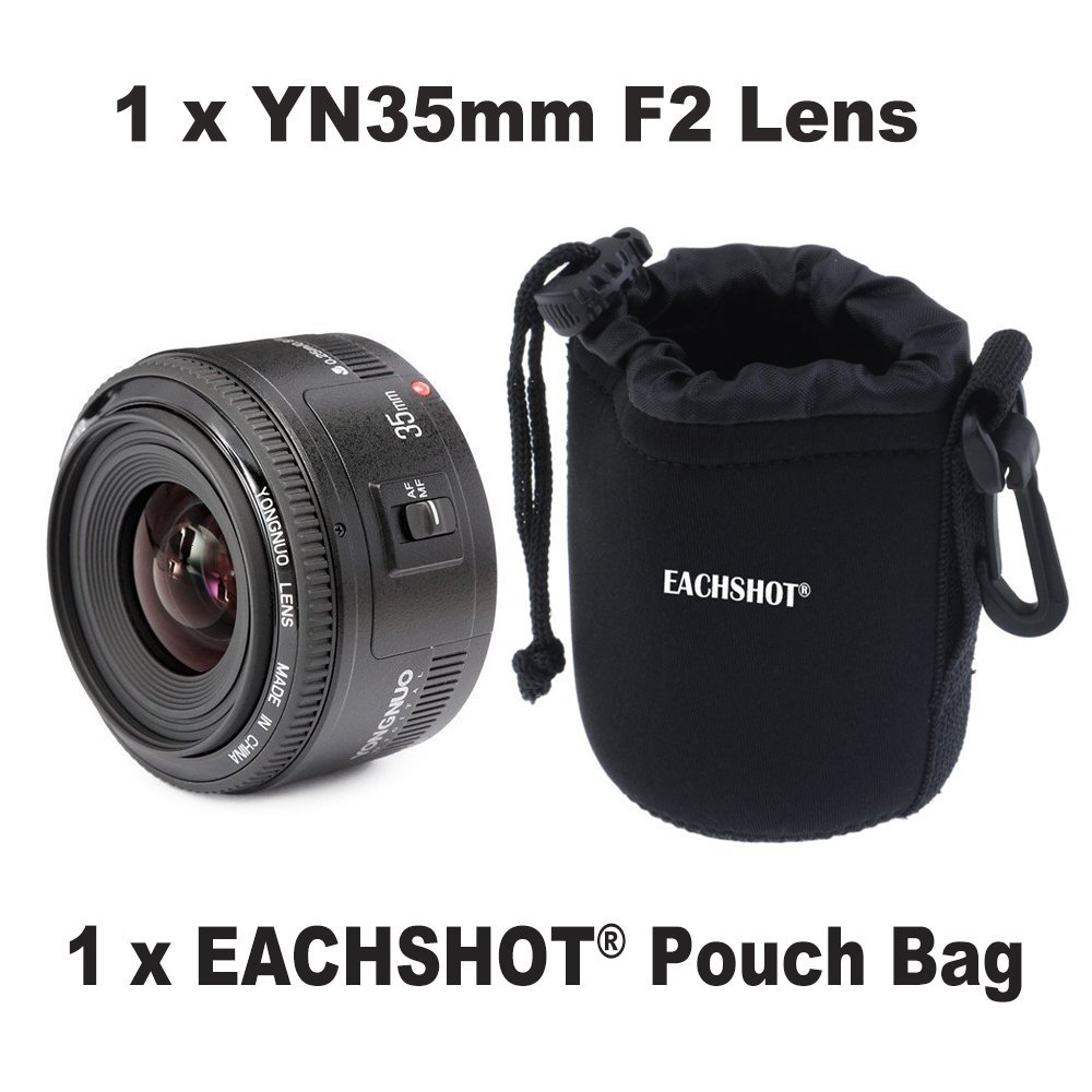 Yongnuo 35mm lens YN35mm F2 lens Wide-angle Large Aperture Fixed Auto Focus Lens For canon With MINI Camera Lens Pouch Bag стоимость