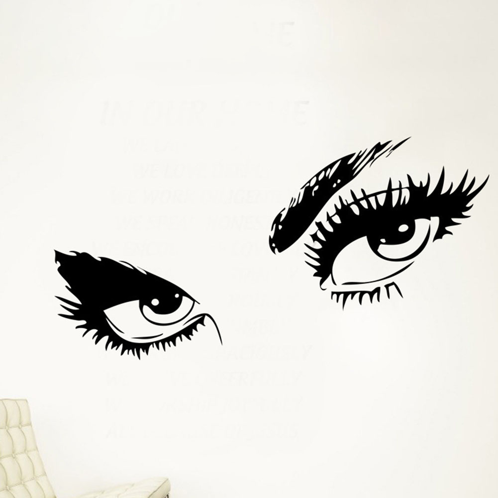 Hot Sale Big Eyes wall sticker home decal long eyelashes design wall decor sticker Black color elegant New Fashion Gift