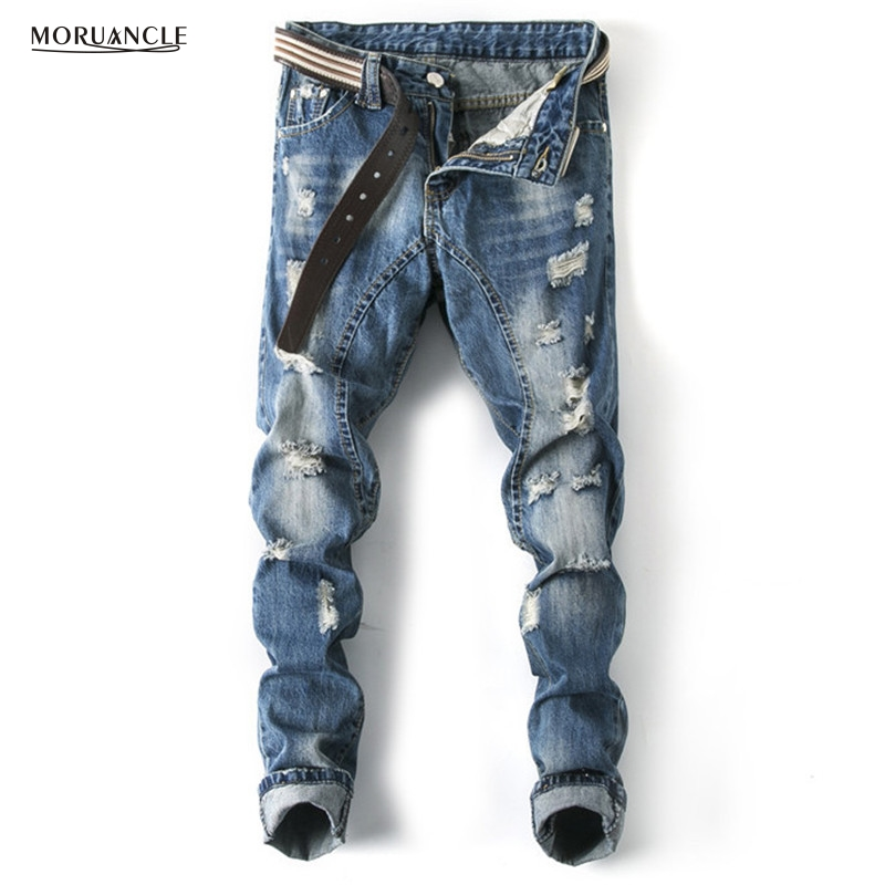 MORUANCLE New Arrival Mens Washed Ripped Jeans Trousers Male Slim Fit Straight Distressed Denim Pants With Holes Designer