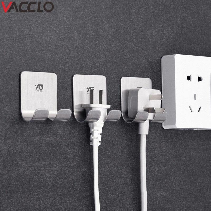 Vacclo Adhesive Storage Hook Shelf Holder Power Plug Holders Rack Bathroom Organizers Socket Wall Mounted Hanger Kitchen Tool