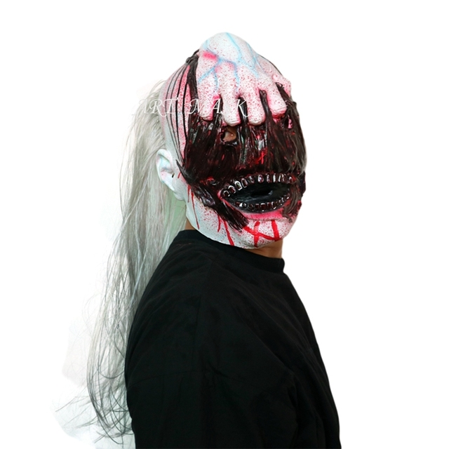 new halloween horror masks rotface scary mask halloween zombie with long hair devil ghost mask