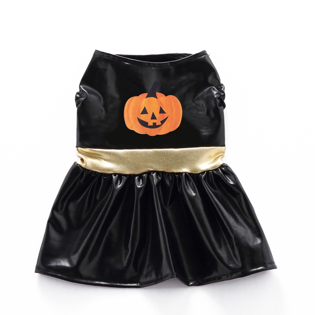 TINGHAO Funny Puppy Party Costume Halloween Pumpkin Print Pet Dog Skirt + Headpiece Set