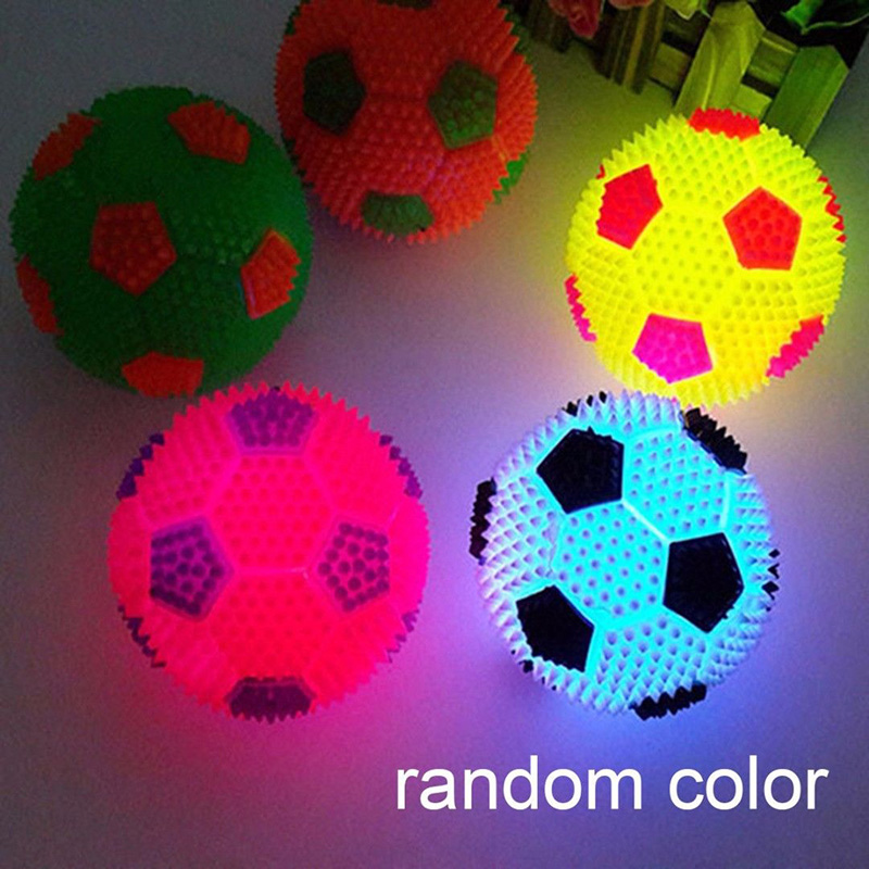 Flashing LED Football Bouncing Ball Toy Stress Reliever for Child Pet Dog flashing jumping ball outdoor fun sport toy bouncing balls for kids child sport movement ankle skip color rotating ball 5 color