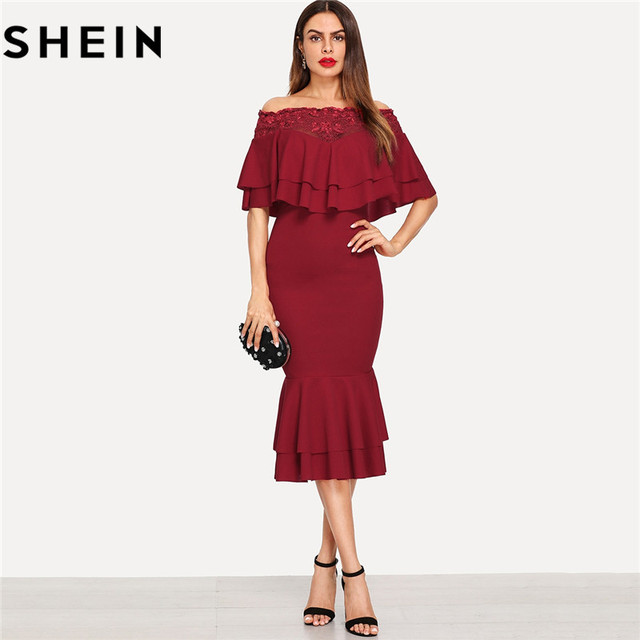 e18c31acb0e SHEIN Red Off The Shoulder Mermaid Hem Womens Bodycon Dress Elegant Office  Lady Lace Trim Layered