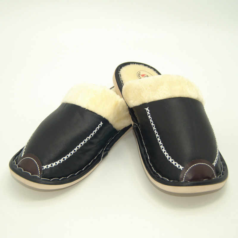 8748bd8f6 ... Men Slippers Plush Winter Warm Home Slippers Leather Flat Indoor Casual  Shoes Men Black Size 42