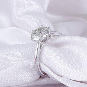 Image 2 - Transgems 14K 585 White Gold Moissanite Diamond Engagement Ring for Women Fine Jewelry Center 2ct F Color Moissanite Ring