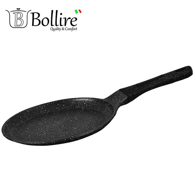 BR-1108 Сковорода для блинов Bollire 24 см, Подходит для всех видов плит, включая индукционные, Внутреннее покрытие PFLUON Marble-трехслойное, износостойкое антипригарное покрытие, Технология дна FULL INDUCTION BOTTOM
