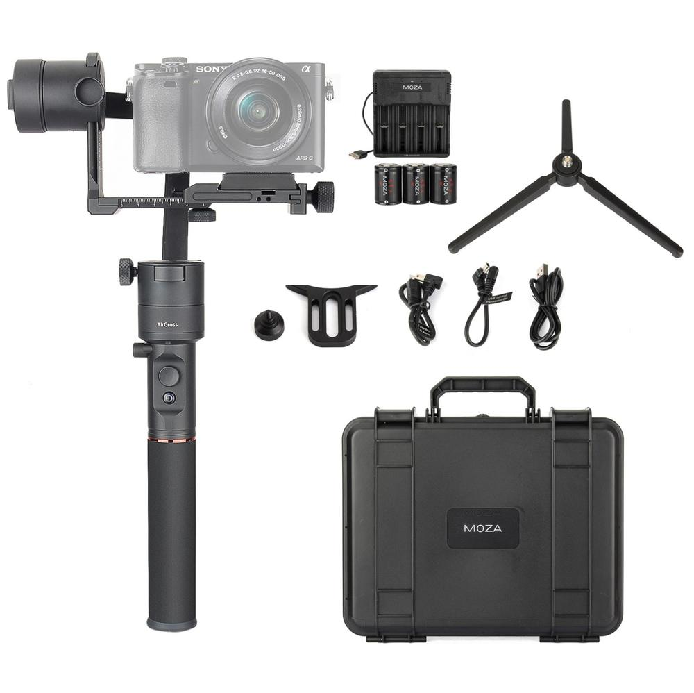 MOZA Aircross 3 Axis Handheld Gimbal Stabilizer for Up to 1.8KG Mirrorless Camera Sony A6000 A6300  RX100 A7 Series Panasoni 12mp 980 mah handheld steadygrip 4k camera 3 axis gimbal x3 for osmo kit
