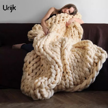 Urijk 1PC Fashion Thin Thread Blanket Winter Warm Home Use Blankets for Adults European Crocheted Bed/Sofa Blanket Home Textile
