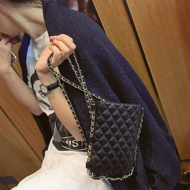 New leather sheepskin black rhombic chain mini mobile phone purse retro handbagNew leather sheepskin black rhombic chain mini mobile phone purse retro handbag