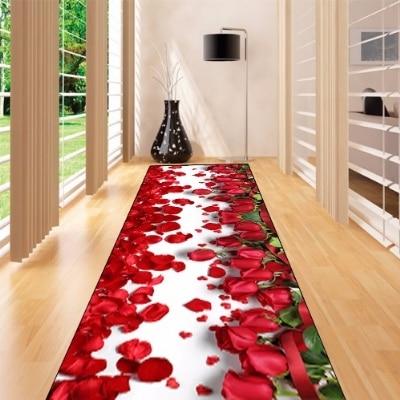 Else Red Rose Leaves Love Flowers Floral 3d Print Non Slip Microfiber Washable Long Runner Mats Floor Mat Rugs Hallway Carpets