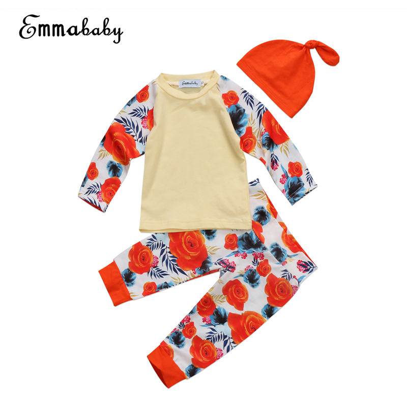 Floral Baby Girls Clothes Set Newborn Baby Long Sleeve T-shirt+Pants Leggings+Hat 2017 New Hot Sale Fall Girl Bebes Clothing Set