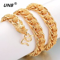 UNB 60CM Dragon Thick Necklace For Men Gold Color Brass Heavy Chain Jewelry Male Father Gifts