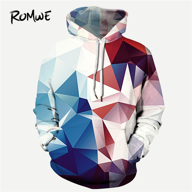 a744005bb9 ROMWE Men Abstract Geo Print Hooded Sweatshirt Mankind Casual Autumn Long  Sleeve Clothing Multicolor Drawstring Pullovers Hoodie