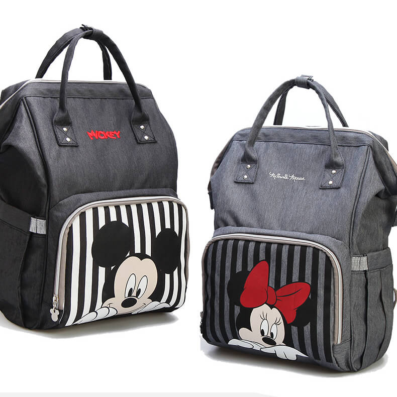 Disney Mickey Minnie Striped Best Diaper Bag Baby Bag Backpack Mummy  Maternity Care Large Capacity Nappy Bag USB Bottle Warmer 36f2ba305617