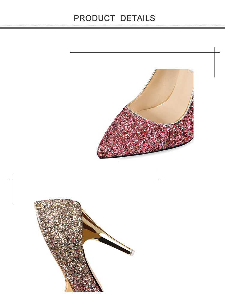 18 New High thin heels shoes women pumps bling wedding Bridal shoes classic 1cm 5.5cm or 8.5cm pointed toe evening party shoes 4