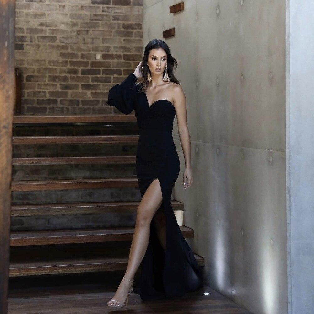 Fête de noël 2019 nouveauté noir Sexy Bandage Robe hiver femmes une épaule à manches longues Maxi Bandage Robe Robe D-70