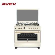 Газовая плита с электрической духовкой с конвекцией  AVEX FEG902YR, с чугунными решетками, духовка с двойной конвекцией