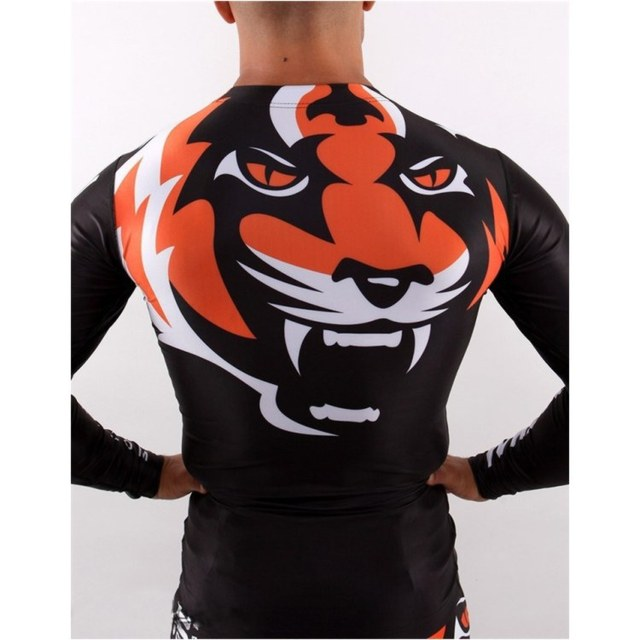 "SOTF Tight elastic body-building clothes Tiger Muay Thai MMA Muay Thai boxing shirt Long sleeve ""Signature"" series Black orange"