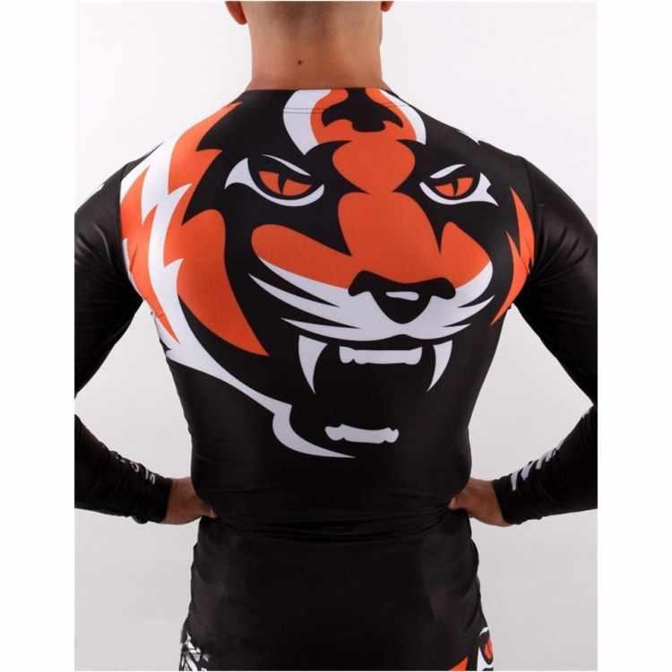 """SOTF плотная эластичная одежда для бодибилдинга трикотажные изделия Тайгер Муай Тай ММА Муай Тай боксерская рубашка с длинными рукавами """"Signature"""" Серия черный оранжевый"""