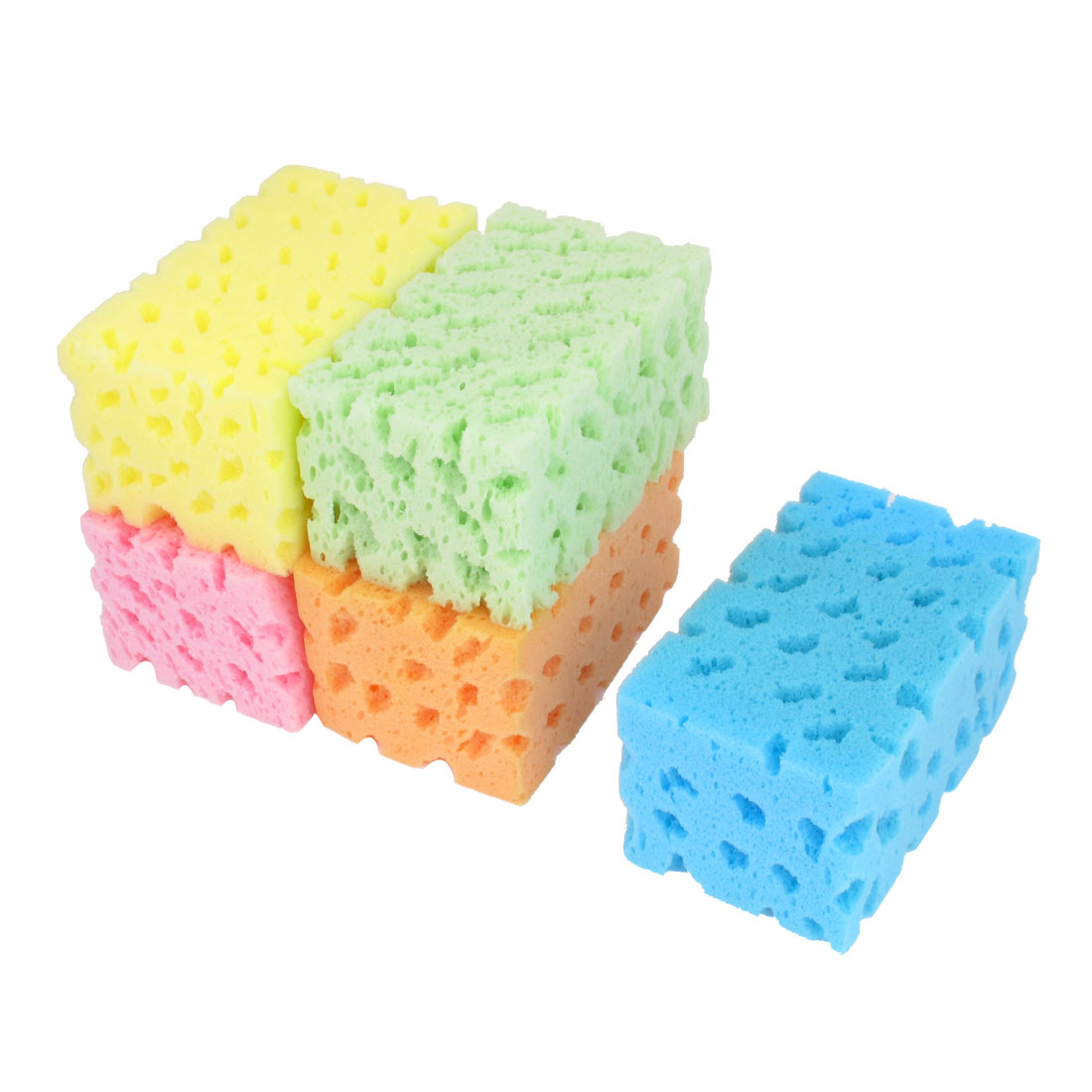 UXCELL 5 Pcs Cleaning Tool Colorful Bone Shape Sponge Pad Cushion For Auto Cars