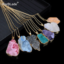 WarBLade New Natural Stone Quartz Pendant Necklace Colorful Irregular Drusy Gold Color Stone Necklaces for Women Jewelry Gift(China)