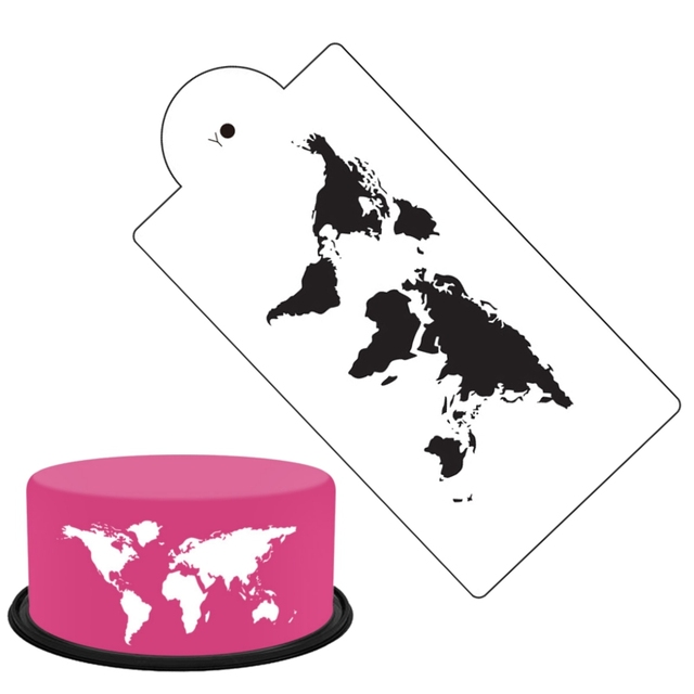 DIY World Map Cake Stencil Cookies Fondant Molds Christmas