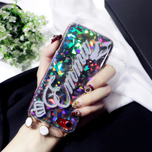 جراب هاتف بلمعة براقة فريدة من نوعها مخصصة باسم حرف مثلث مستدير براق ليزر لهاتف iPhone 6 6s 7 8 plus X XS max XR