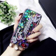 Gritante faísca Brilhante nome Feito Sob Encomenda Original carta Triângulo Rodada glitter laser caso de telefone para o iphone 6 6 s 7 8 mais X XS max XR