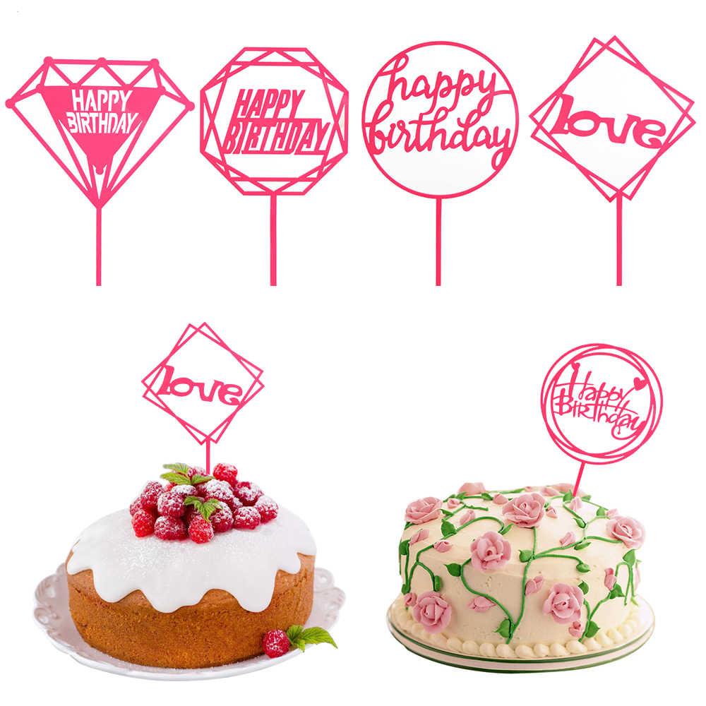 Pink Acrylic Cupcake Topper Happy Birthday Cake Baby Shower Flags Family Party Wedding