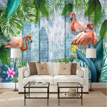 Modern minimalist hand-painted tropical plants flamingo Nordic wall manufacturers wholesale wallpaper mural custom photo