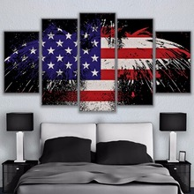 Abstract Painting High Quality Canvas Print 5 Pieces Eagle American Flag Wall Art Home Decorative Framework Posters
