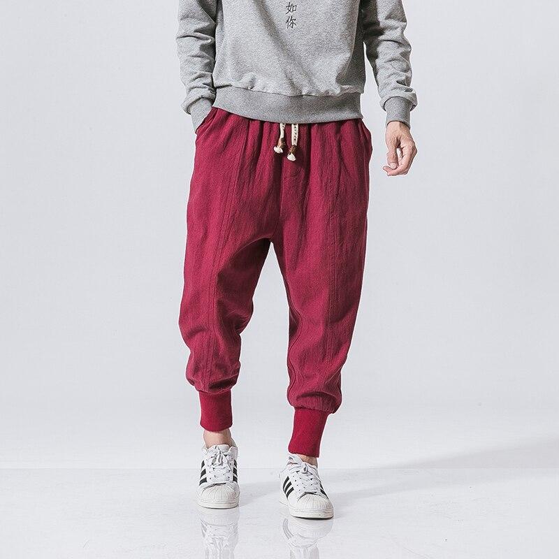 MRDONOO Japonais coton de lin pantalon cheville réuni pantalon hommes lâche harem style Chinois grandes défaites de lin culottes bouffantes K46