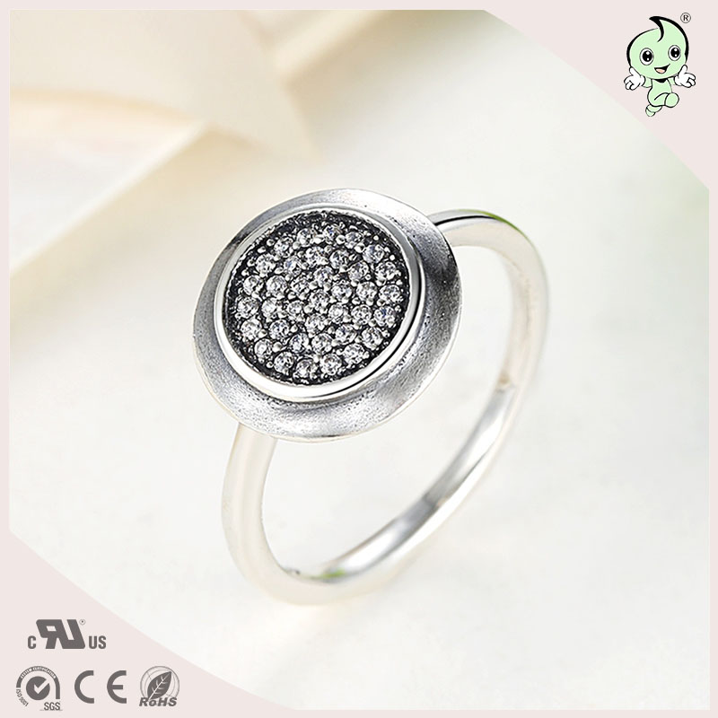 P&R products Hot Sale Classic CZ Paving Round Design S925 Sterling Silver Lady Party Rings for women