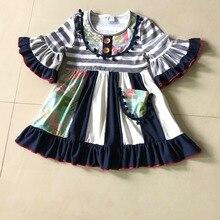 Été et Automne Nouveau Style De Mode tenues Bébé FILLES robe à Rayures Multicolores Imprimé et Enfants vêtements