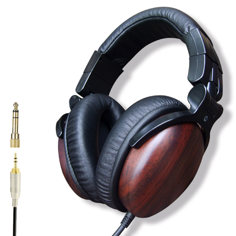 цена на Premium Professional High Quality Over-ear Wired Hifi Hd Dj Studio Wood Wooden Music Headphones Casque 3.5mm Headset No Mic