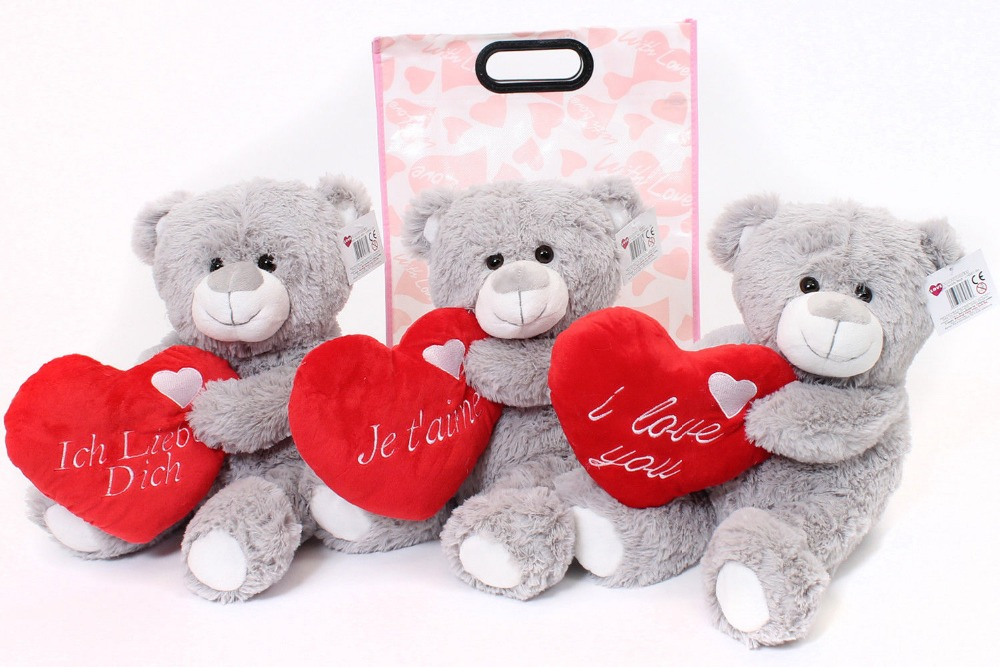 "VALENTINES DAY TEDDIES I LOVE YOU JE T'AIME ICH LIEBE DICH 16"" LARGE GREY TEDDY BEAR MOTHERS CUTE GIFT BAG GIRLFRIEND BOYFRIEND"
