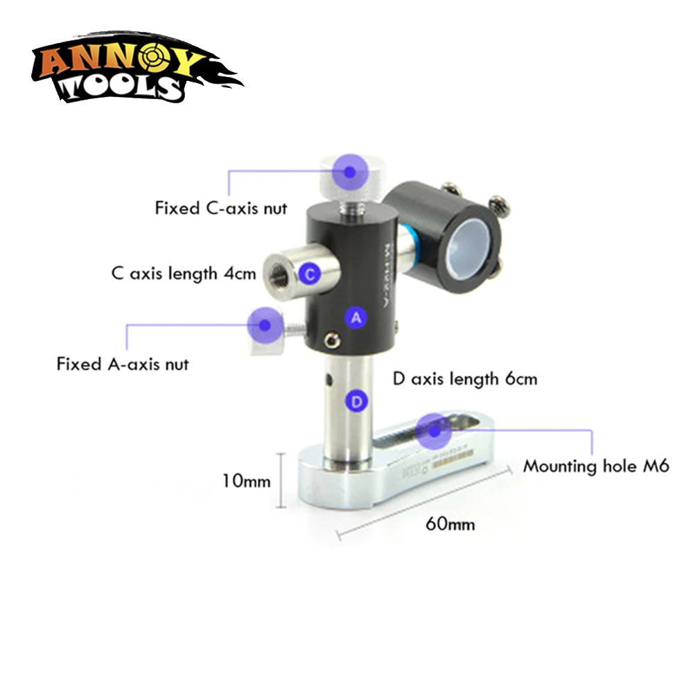 360 Degrees 17.5mm Laser Module Laser Positioning Light Universal Adjustable Two Axis Bracket