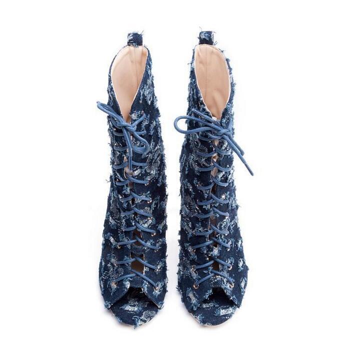 Las Tamaño Mujeres Calcetines Lace Zapatos De Botas Gladiador 43 Toe Cuero As Azul Verano Picture Peep denim Plus Tobillo Mujer Señoras ZwEdTd