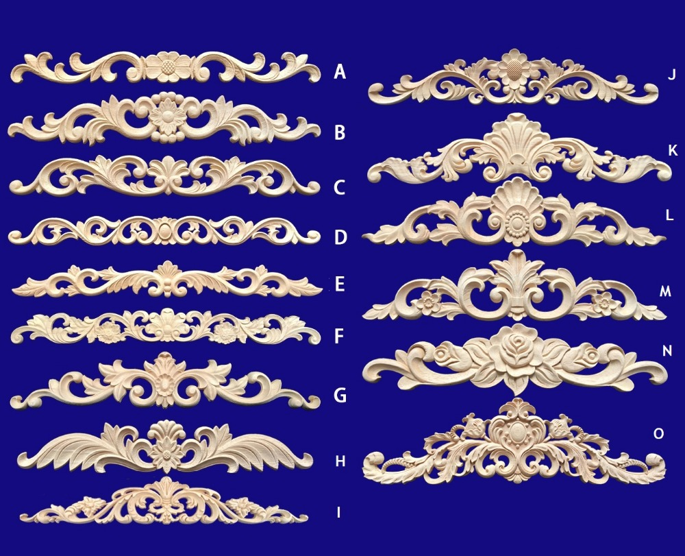 2Pcs/Lot RUBBERWOOD FURNITURE ARCHITECTURAL CARVED WOOD APPLIQUE APPLIQUES UNPAINTED UNFINISHED Acanthus Grape FLOWER EUROPEAN