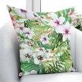Else белый фиолетовый тропические цветы Цветочные зеленые листья 3D печать наволочка квадратная скрытая молния 45х45см