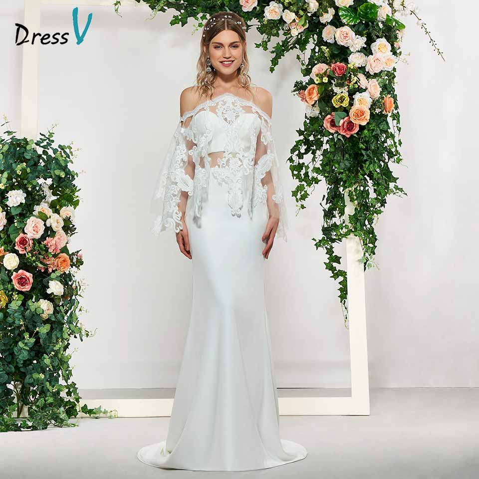 Dressv elegant appliques sweetheart neck mermaid half sleeves lace wedding dress floor length simple bridal gowns wedding dress