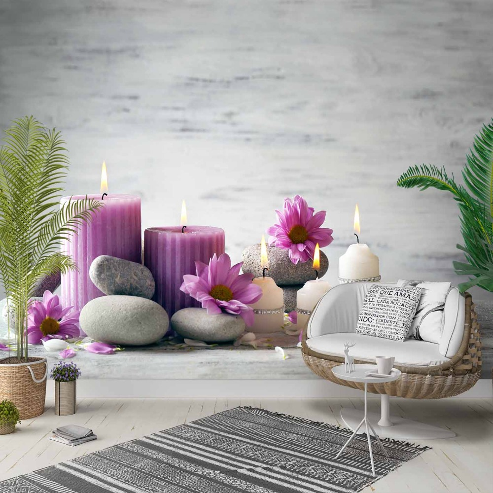 Else Purple Candles Flowers Gray Spa Stones 3d Photo Cleanable Fabric Mural Home Decor Living Room Bedroom Background Wallpaper