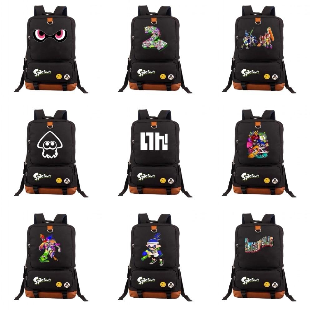 2018 HOT Game Splatoon backpack men women Backpack Canvas Bags Laptop School Student Book Shoulder Bag Travel Bag 19 style men original leather fashion travel university college school book bag designer male backpack daypack student laptop bag 9950