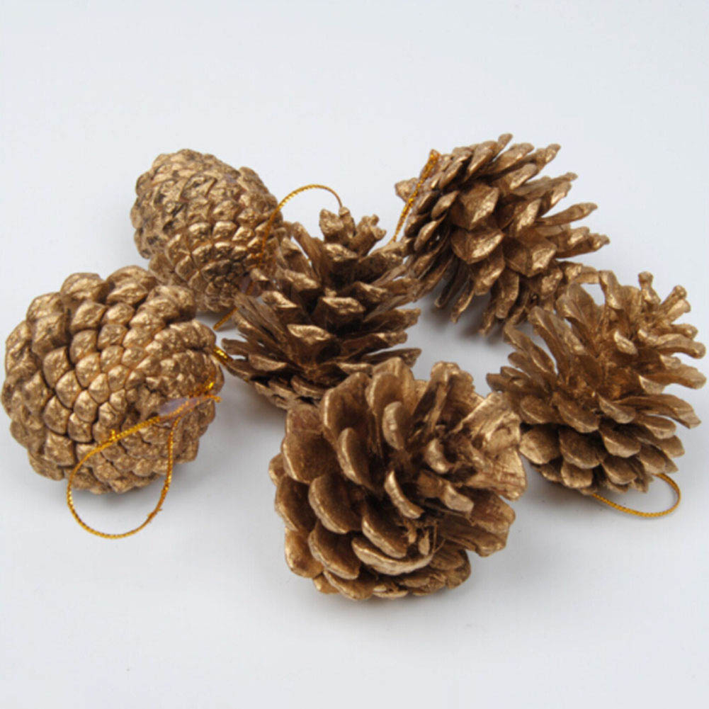9 PCS /Bag Wooden Gold Silver Pine Cone Christmas